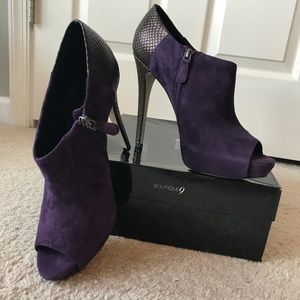 Sexy Peep Toe Boutique 9 Purple Suede Booties